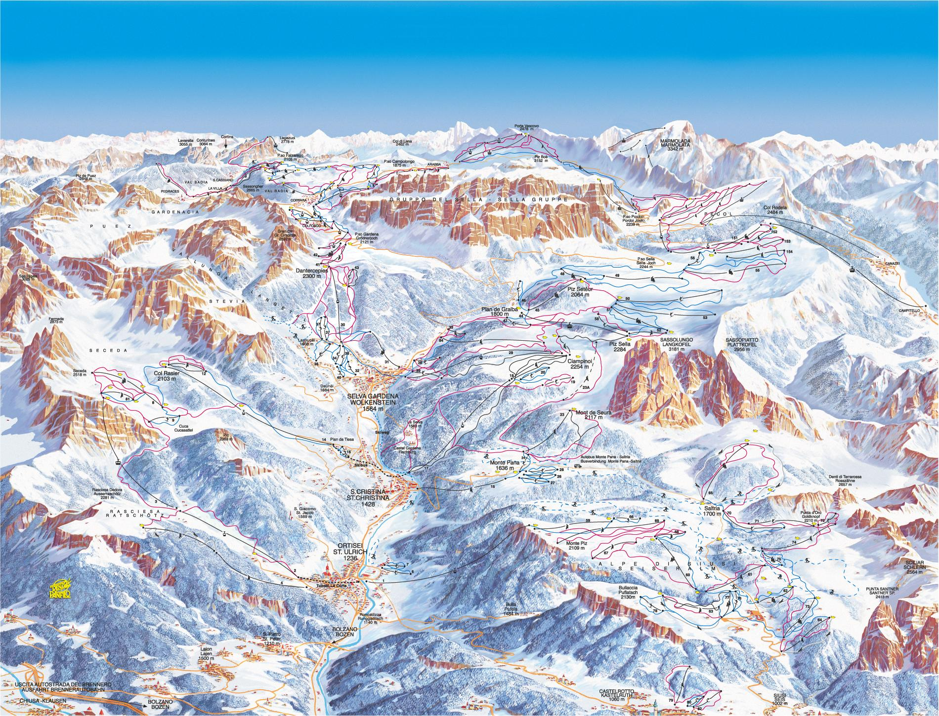 ORTISEI MAP WinterSportscom