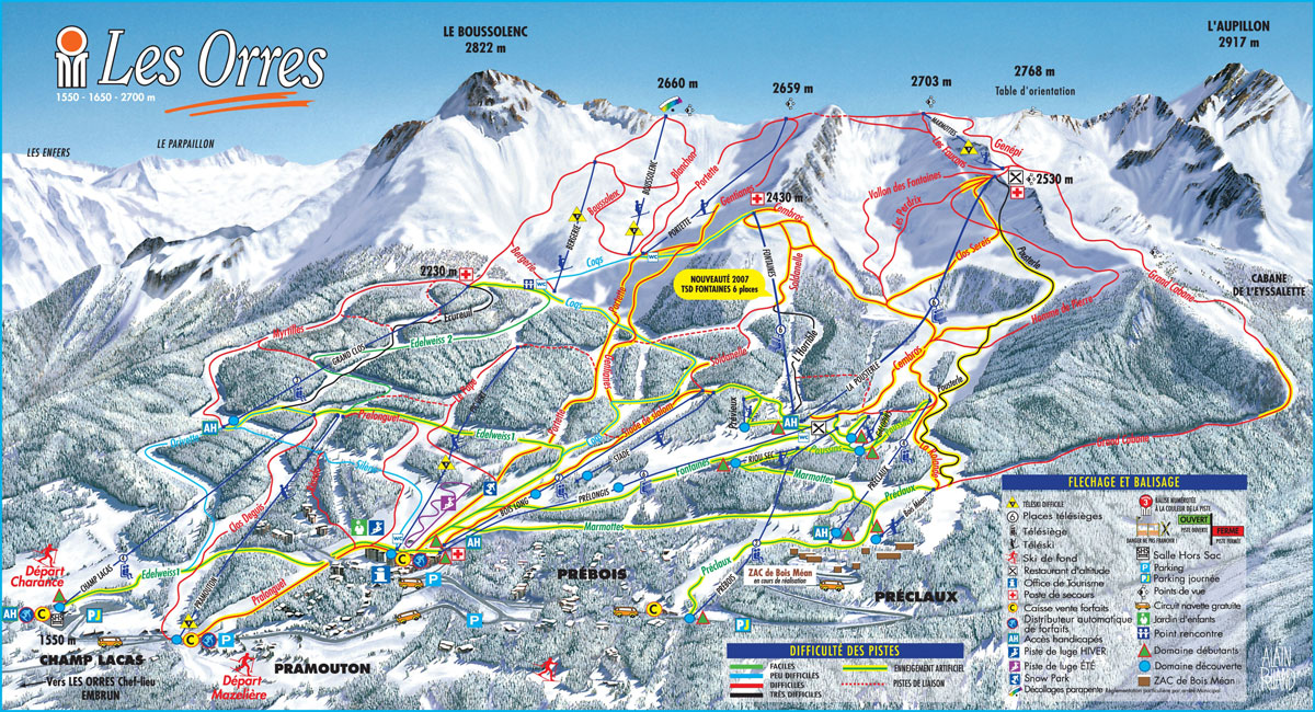 LES ORRES MAP 34 open pistes 12 open ski lifts WinterSportscom