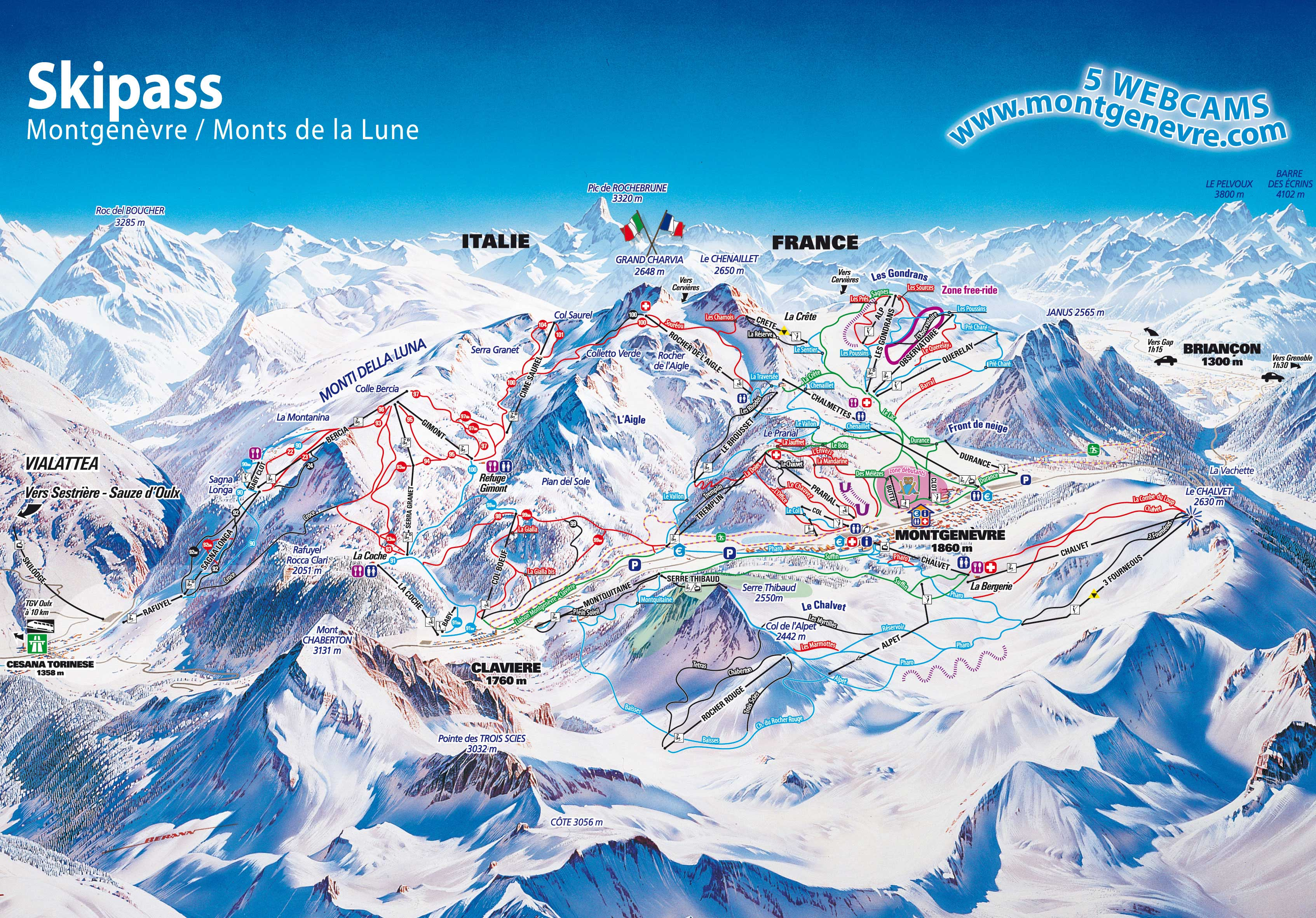 MONTGENEVRE MAP 23 open pistes 9 open ski lifts WinterSportscom