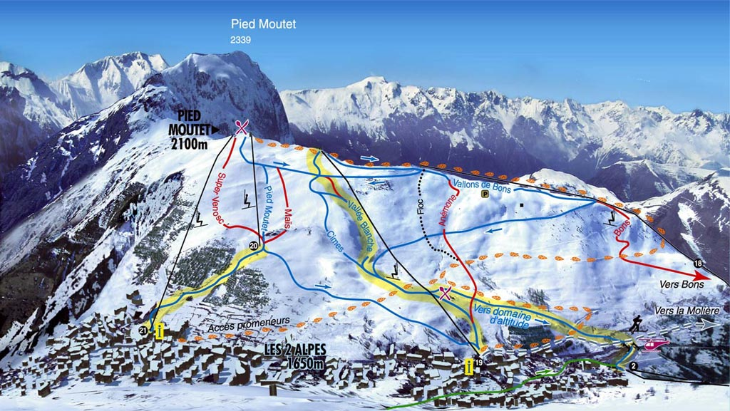 LES 2 ALPES MAP 0 open ski lift WinterSportscom