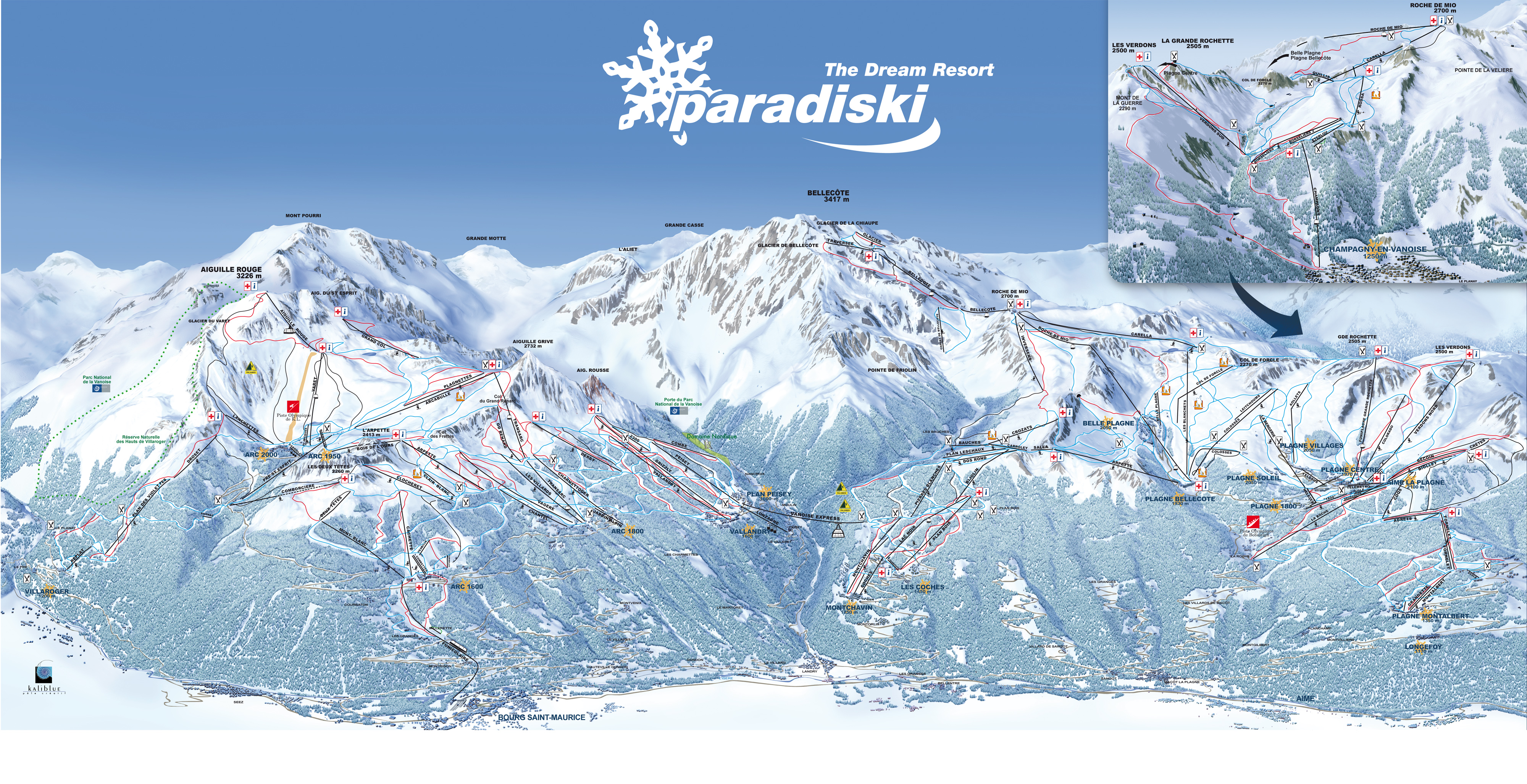 LA PLAGNE MAP 0 open ski lift WinterSportscom