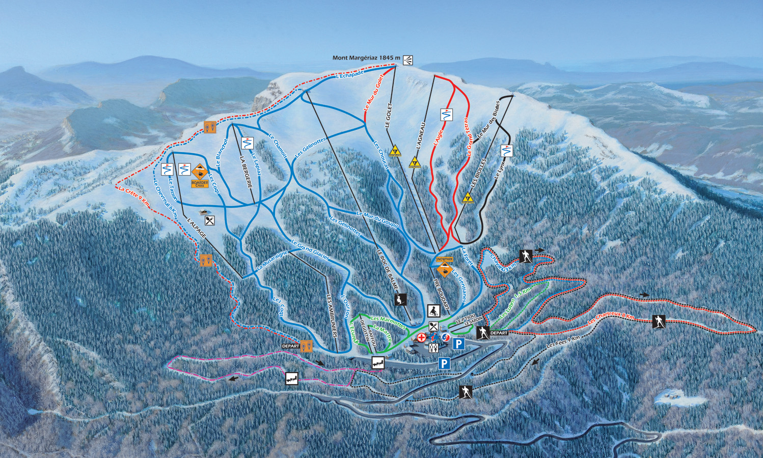 LES AILLONS MAP 23 open pistes 10 open ski lifts WinterSportscom