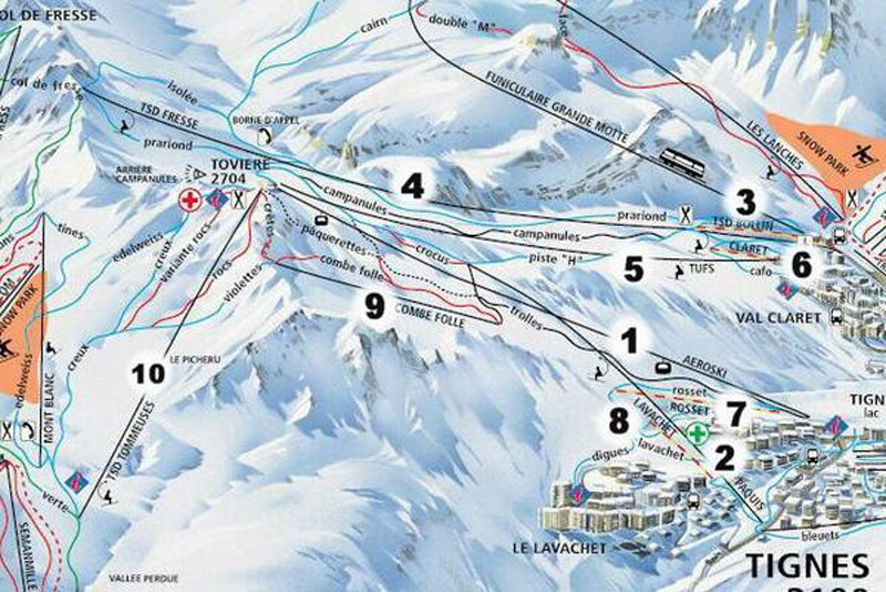 TIGNES MAP 0 open ski lift WinterSportscom