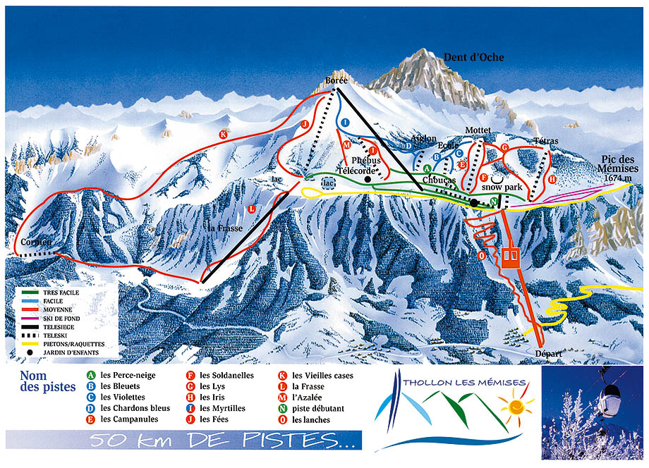 THOLLON LES MMISES MAP 15 open pistes 13 open ski lifts