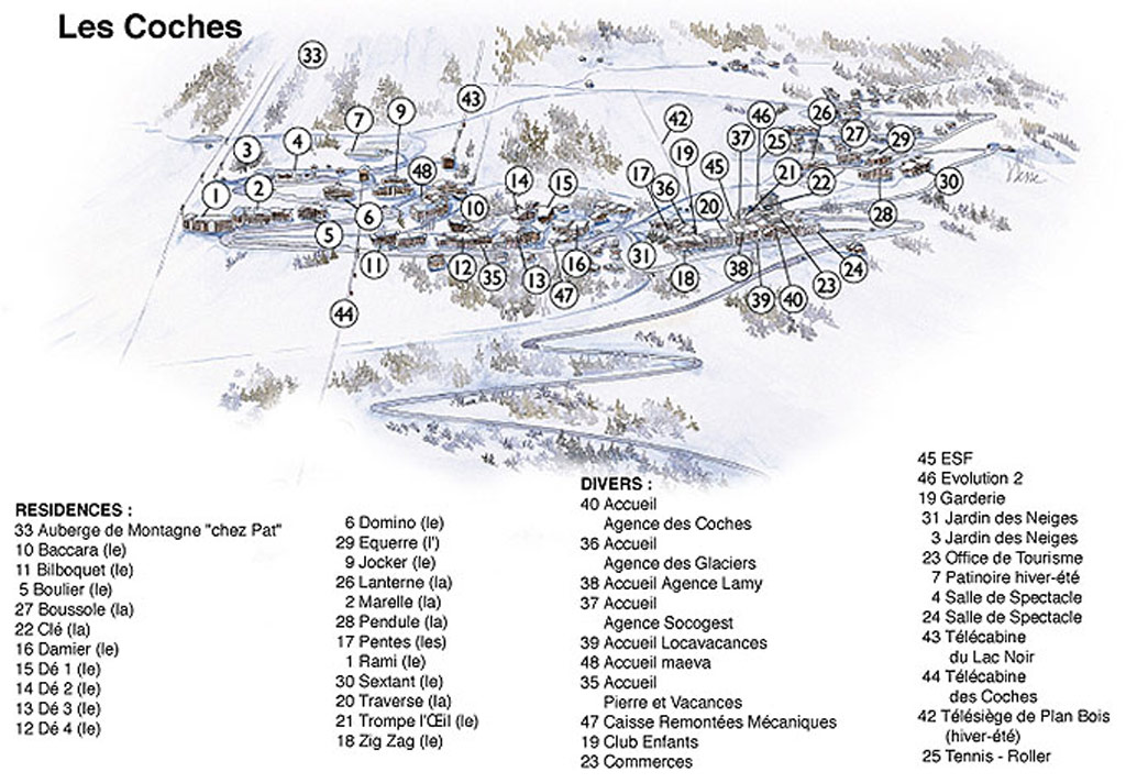 Map of the ski and wintersports resort Montchavin les Coches
