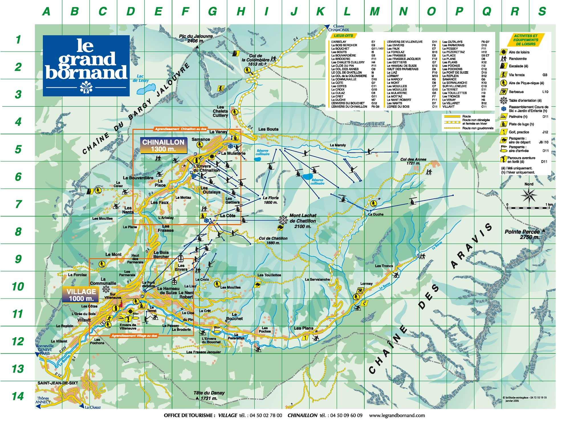 map of the ski and winter-sports resort le grand bornand - winter